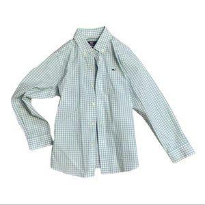 Vineyard Vines Boys Checkered Whale Shirt Size 7